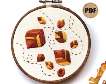 Autumn Leaves PDF Embroidery Pattern, Fall Colors Digital Pattern, Fall Decor DIY Crafts, Woodland Digital Download Hand Embroidery Hoop Art