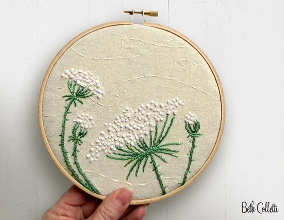 Embroidered flowers queen annes lace embroidery hoop art