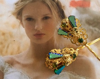 Decorative Hair Pins Jewelry 1940's Bridal West Germany Blue Green Rhinestone Hairpins Bobby Pins