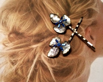 Bridal Hair Pins Jewelry 1940's Blue Molded Glass Leaf Bobby Pins