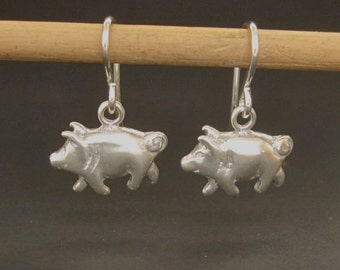 Pig earrings piglet silver piggy dangle earrings solid sterling recycled silver made in usa