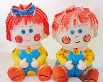 ON SALE Vintage Set Of Raggedy Ann & Andy Rubber Or Latex Squeaky Toys, Baby Toy, Home Decor, Bright Primary Colors, Childs Room, Nursery De