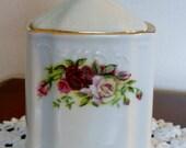 Vintage Bernadotte Czech Roses Porcelain Lidded Dresser Jar