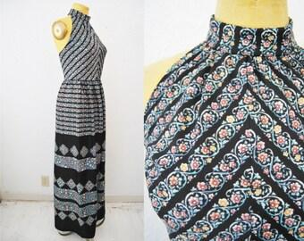 Vintage 70s Maxi Long Dress Flower Print Halter Dress Black Retro Print Hippie Boho Bohemian