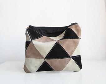 Suede patch bag, Clutch bag, Clutch Purse, Monochrome, Geometry bag, Triangles, Neutral, Suede patch,