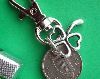 1942 Irish Harp Coin and Shamrock Purse charm, 75th Birthday Keyring, Zipper Pull, 3d Irish Coins, Lots of Dates, handmade in Ireland