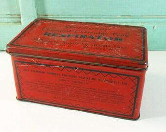 Vintage Red Pulmosan Chemical Cartridge Respirator Tin with Hinged Lid