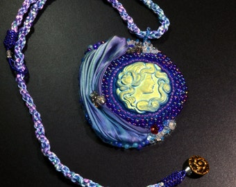 Statement-OOAK-Pendant-Necklace-Bead-Embroidery--Blue-Czech-Glass Button-Cameo-Shibori Ribbon-Kumihimo-Woven- Necklace