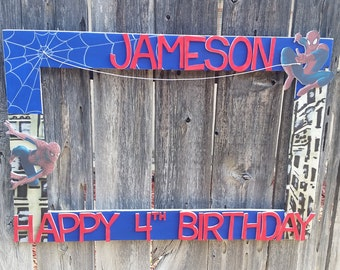 Spiderman Birthday, Graduation or Baby Shower Party Photo Prop Frame