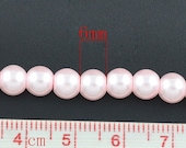 ON SALE 70pc Glass Pearl Beads - 6mm Soft Pink Glass Pearl Beads - Glass Beads - Pearl Beads - SWGP-6Sp