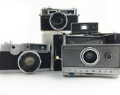 Instant Camera Collection, Polaroid Automatic 100 Land Camera, Fujica V2, Yashica Electro 35 GSN, Mid Century Mod, For Parts/Repair, Display