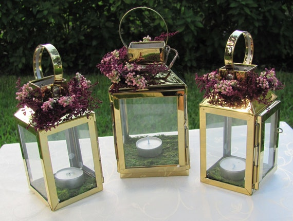 Wedding centerpiece lanterns in the color gold handmade