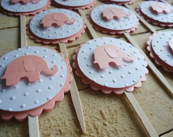 Elephant Cupcake Toppers, PearlyPink Shimmer, Baby Shower, Girl Baby Shower, Set of 12