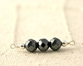 Faceted Hematite Stone Three Bead Silver Wire Wrapped Necklace / Sterling Silver Jewelry / Natural Magnet / Modern Jewelry