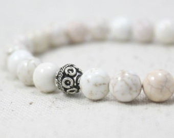 White Howlite and Silver Plated Beaded Stretch Bracelet / Gifts under 20