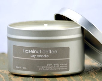 Hazelnut Coffee Soy Candle Tin 8 oz. - coffee soy candle - hazelnut soy candle - food soy candle - fall soy candle - holiday soy candle