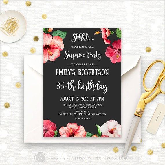 Surprise Birthday Party Invitations Printable Hibiscus