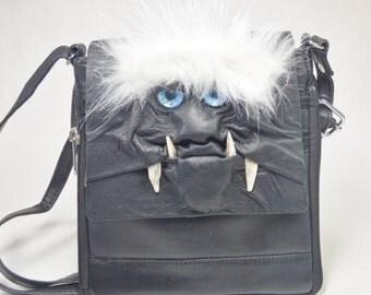 Messenger Bag Black Leather Medium Purse Handbag Card Bag Goth
