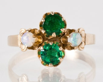 Antique Ring - Antique 1920s 14k Yellow Gold Emerald and Opal Ring