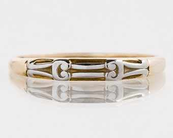 Antique Wedding Band - Antique 1920's Two-Tone Etched Wedding Band
