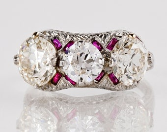 Antique Engagement Ring - Antique 1920s Platinum 3.42ctw Diamond & Ruby Ring