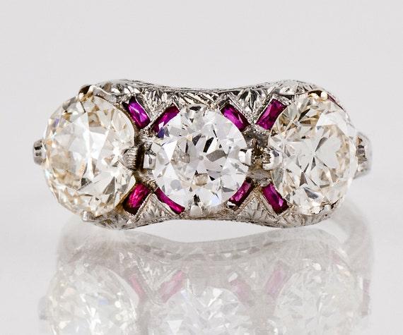 Antique Engagement Ring - Antique 1920s Platinum 3.42ctw Diamond & Ruby Ring