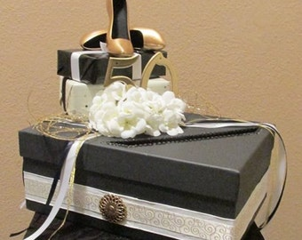Gold Ivory Black Heeled Shoes 50th Birthday Party Card Box