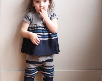 Felted Wool Baby set, Wool baby top, Merino wool pant set, 18 month wool longies