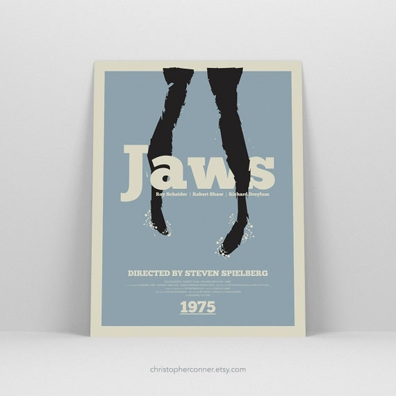 Jaws ~ Movie Poster, Minimalist Art Print by Christopher Conner