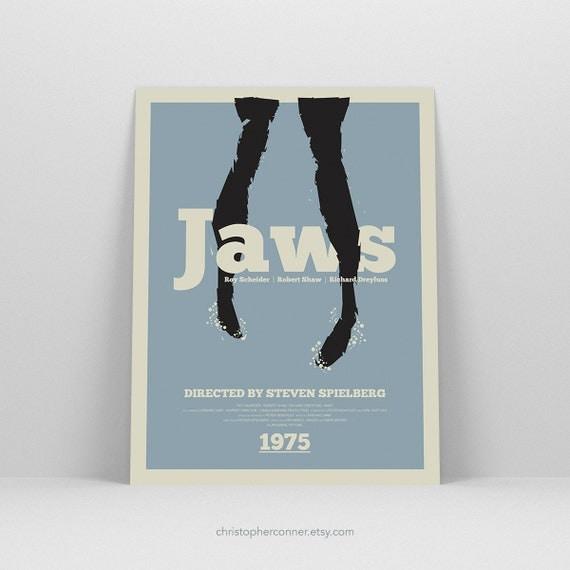 Jaws ~ Minimal Movie Poster, Retro Minimalist Art Print by Christopher Conner