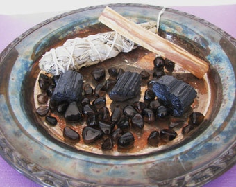 Smudge Kit, Sage Kit, Sage Bundle, Sage Incense, White Sage, Palo Santo, Smudge Stick, Black Tourmaline, Apache Tears, Crystal Healing