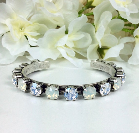 Swarovski Crystal 8.5mm Cuff Bracelet  Choice of Crystal & Finish Color   Designer Inspired - FREE SHIPPING