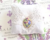 Vintage Linen & Lace, Handmade Fragrant Dried Lavender Sachet with Removable Vintage Iris Brooch, Drawer Freshener, Gifts for Her