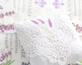 Vintage Textile Handmade and Hand Stamped Fragrant Dried Lavender Sachet, Drawer Linen Freshener, Gifts for Her, Bridal Shower Gift