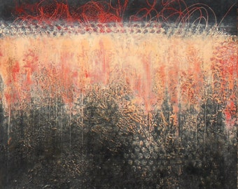 "Oil and cold wax abstract painting on panel titled ""Night Fire"" by Sarah Ettinger."