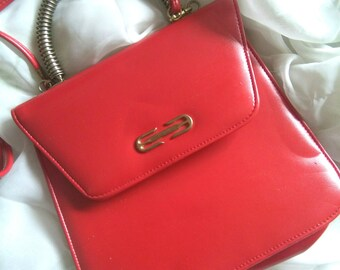 Vintage poppy red eighties handbag
