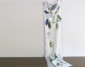 Botanical silk scarf, hand painted scarf, wedding accessory, long scarf white, bridal  scarf, bridesmaid gift - ready to ship