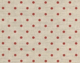 Linen Fabric SALE- Westfalenstoffe  red dots - one yard - SALE