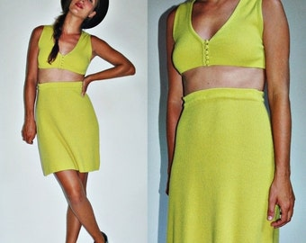 r e s e r v e d  1960s Cashmere Skirt and Crop Top Chartreuse Two Piece Set