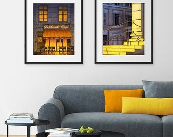 20% OFF SALE: Any TWO Prints - Save 20 Percent,Set of two Illustrations,Art illustration Giclee Art print Paris decor City print Home decor