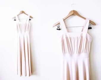 70s Maxi Dress / Pale Pink Strappy Maxi / Disco Bohemian Clothing / Vintage Long Dress