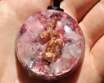 Raw Copper and Rose Quartz Orgone Healing Energy Pendant
