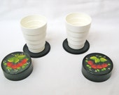 Vintage folding camping cups Collapsible hand painted Plastic Khokhloma Made in Russia 80s