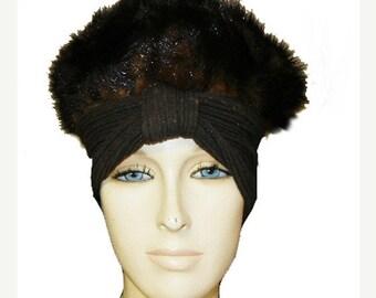 20% off Sale Vintage 50s 60s Deborah Mink Turban Hat sophisticated  hat mink hat vintage hat designer hat fur hat winter hat glamorous hat
