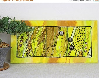 ON SALE Art Quilt Mounted on Painted Canvas Quilted Wall Hanging Mixed Media