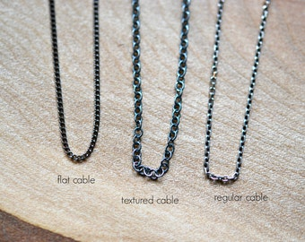 Oxidized sterling silver chain, simple chain necklace, chain only, delicate chain necklace, DIY customize, long necklace, layering jewelry