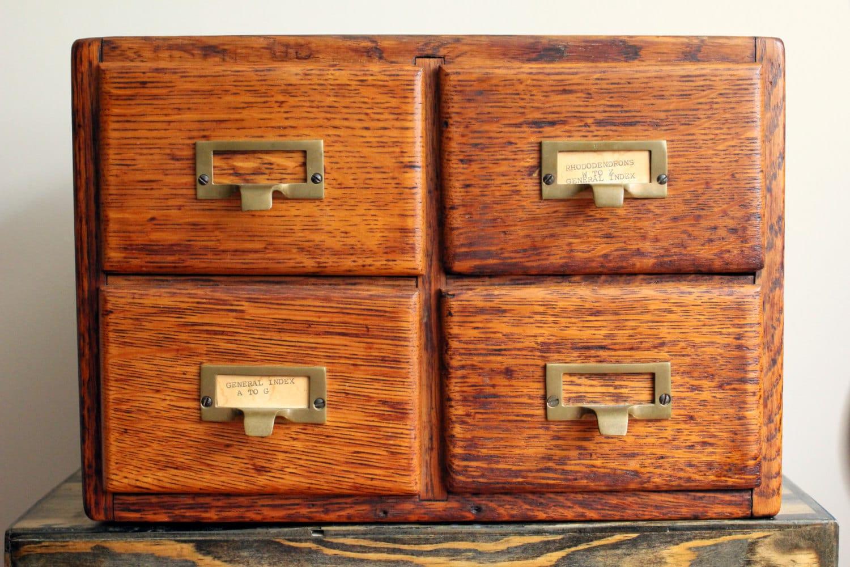 Vintage Library Card Catalog 4 Drawer Wooden By Prosserbrosvtg