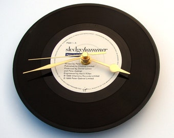 Peter Gabriel Wall Clock, Sledgehammer, Made from a recycled 7 inch single, Cool gift for fans,  1980s, black and white