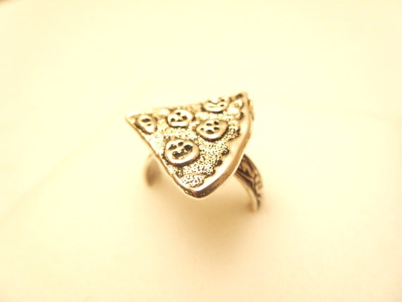 pizza necklace pizza ring pizza slice ring by