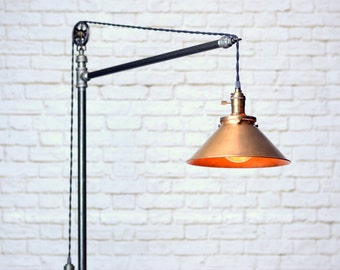Industrial Floor Lamp - Copper Shade - Edison Bulb  - Industrial Furniture - Steampunk - Barn Light